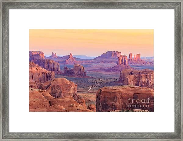 Sunrise In Hunts Mesa, Monument Valley Framed Print
