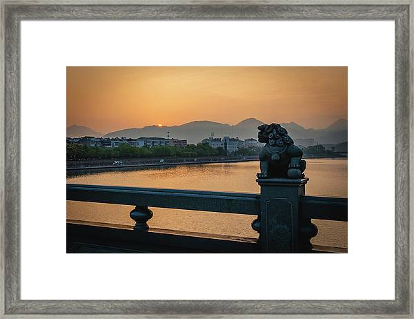 Framed Print featuring the photograph Sunrise In Longquan Seen From Gargoyle Bridge by William Dickman