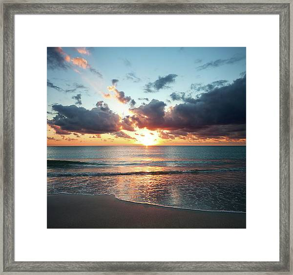 Sunrise In Miami Framed Print