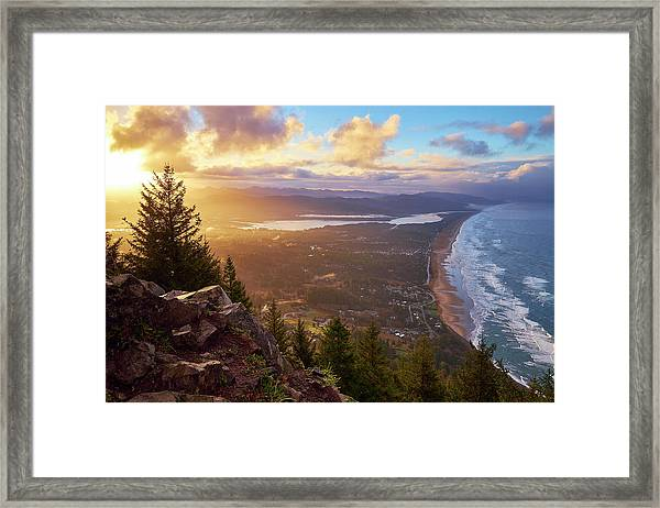 Framed Print featuring the photograph Sunrise On Neahkahnie by Whitney Goodey