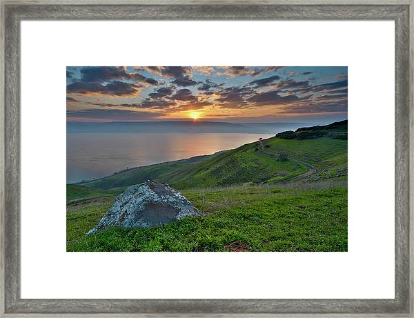 Sunrise On Sea Of Galilee Framed Print