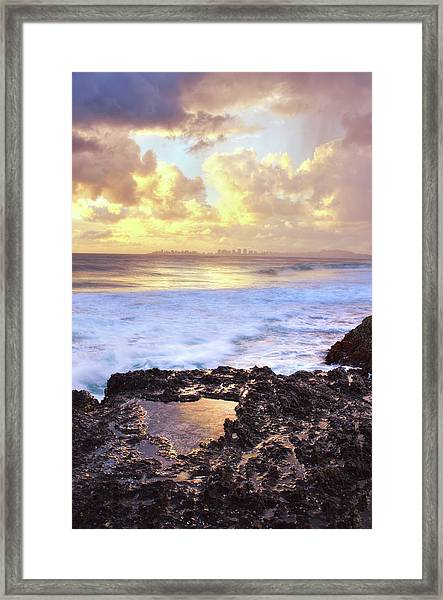 Sunrise Over Coolangatta Framed Print by Nancy Branston