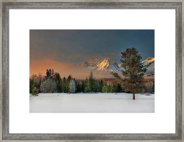 Sunrise Over Sawtooth Mountains Idaho Framed Print
