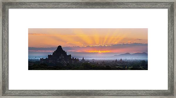 Sunrise Over The Temples Of Bagan Framed Print by Jon Hicks