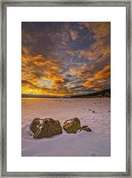 Sunrise Rocks Framed Print