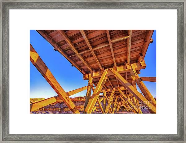 Sunrise Under The Sea Cabin Pier  Framed Print