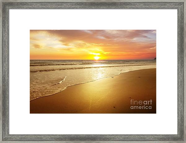 Sunset And Beach Framed Print