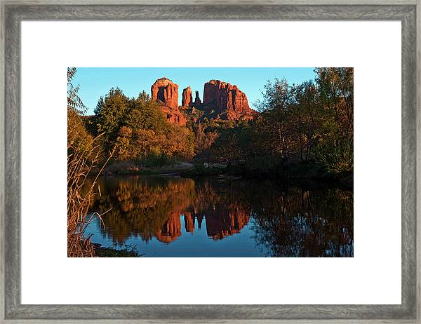 Sunset And Reflections At Red Rock Framed Print