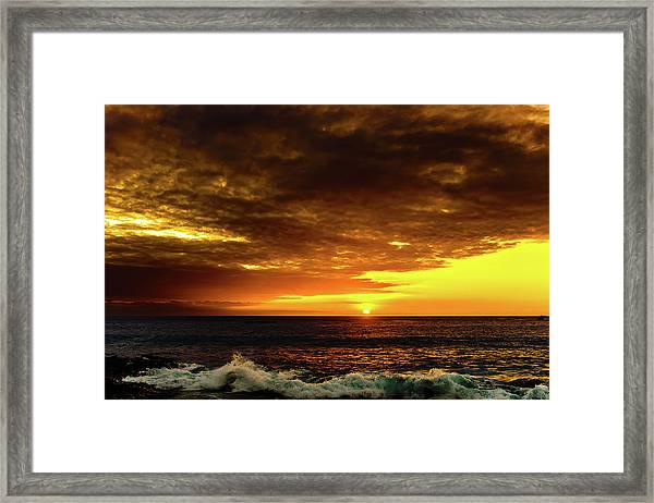 Sunset And Surf Framed Print