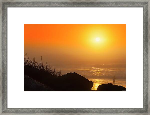 Framed Print featuring the photograph Sunset At Beverly Beach On The Oregon Coast by Dee Browning