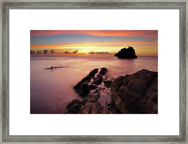 Sunset At Columbus Bay Framed Print
