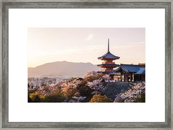Sunset At Kiyomizu-dera Temple And Framed Print