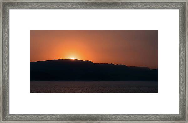 Framed Print featuring the photograph Sunset At Over The Mountains In The Red Sea by William Dickman