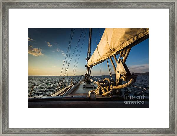 Sunset At Sea On Aboard The Yacht Framed Print
