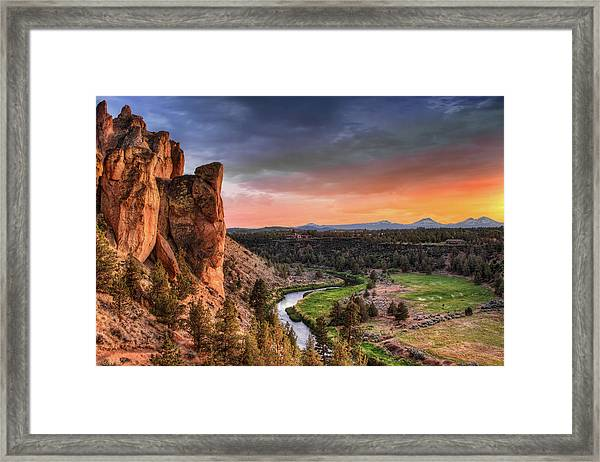 Sunset At Smith Rock State Park In Framed Print