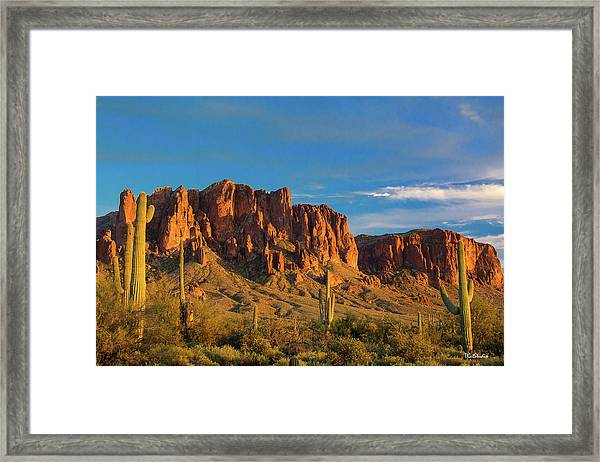 Sunset At Superstition Mountain Framed Print