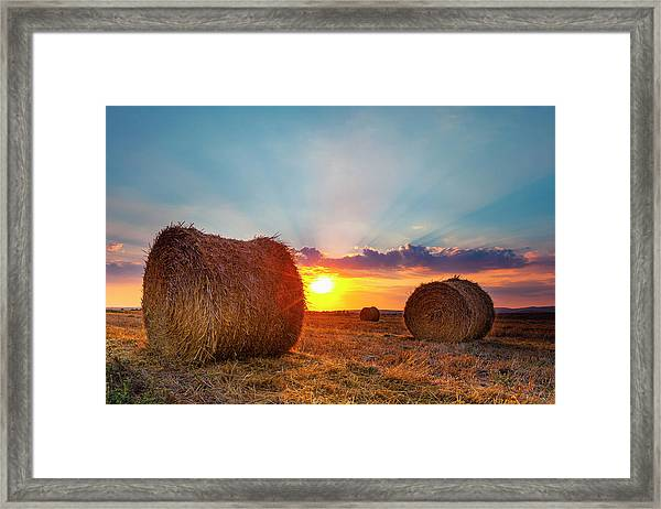 Sunset Bales Framed Print
