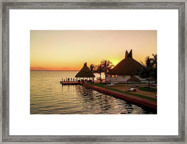 Sunset In Cancun Framed Print