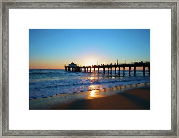 Sunset In Manhattan Beach Framed Print