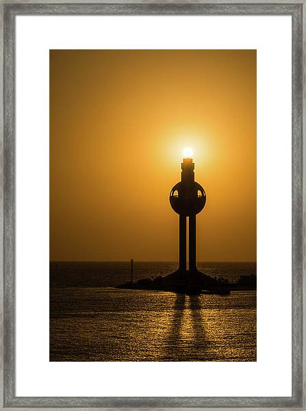 Framed Print featuring the photograph Sunset In Port Jeddah, Saudi Arabia by William Dickman