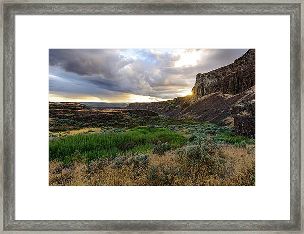 Sunset In The Ancient Lakes Framed Print