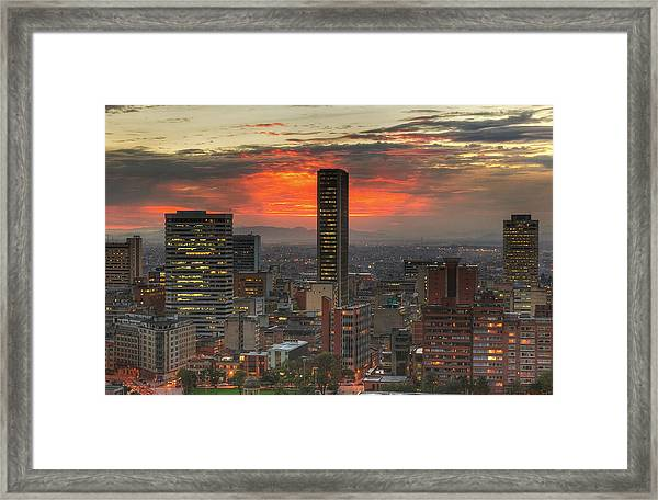 Sunset In The City, Hdr Framed Print by Tobntno