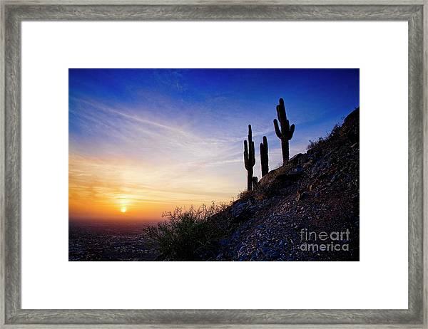 Sunset In The Desert Framed Print