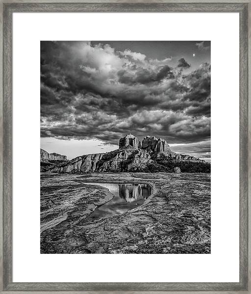 Sunset Light On Cathedral Rock, B And W Framed Print