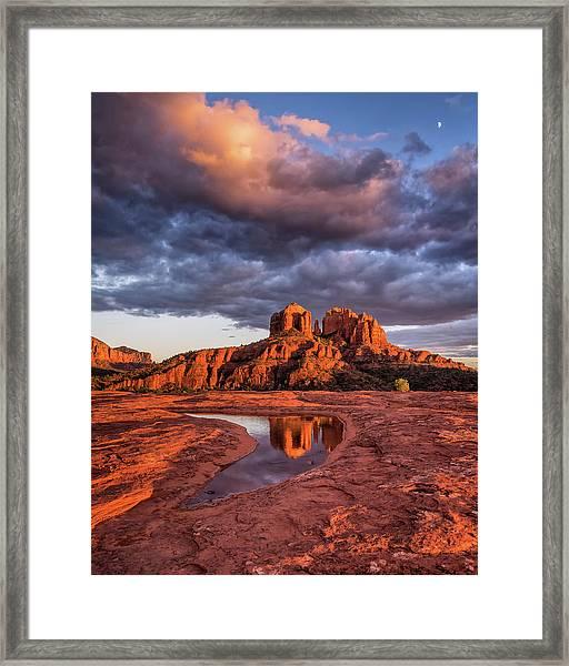 Sunset Light On Cathedral Rock Framed Print