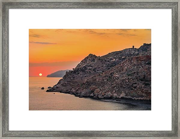 Framed Print featuring the photograph Sunset Near Cape Tainaron by Milan Ljubisavljevic