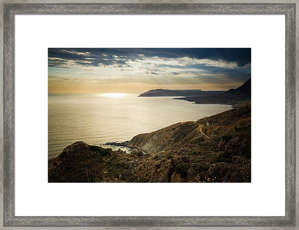 Framed Print featuring the photograph Sunset Near Tainaron Cape by Milan Ljubisavljevic