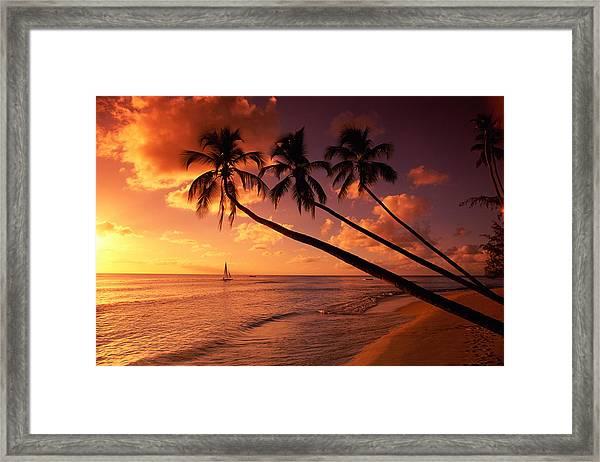 Sunset Nr, Cobblers Cove, Barbados Framed Print