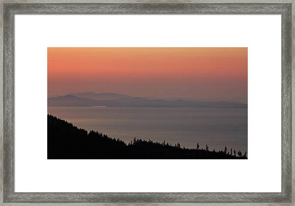 Sunset Of The Olympic Mountains Framed Print