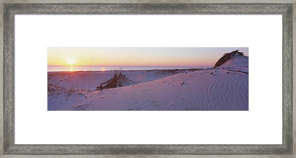 Sunset On Beach At Amelia Island, Fl Framed Print