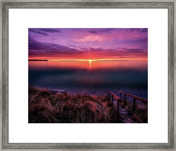 Sunset On Good Harbor Bay Framed Print