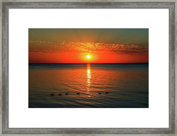 Framed Print featuring the photograph Sunset On Green Bay by Dawn Richards