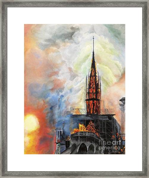 Sunset On Notre Dame Framed Print