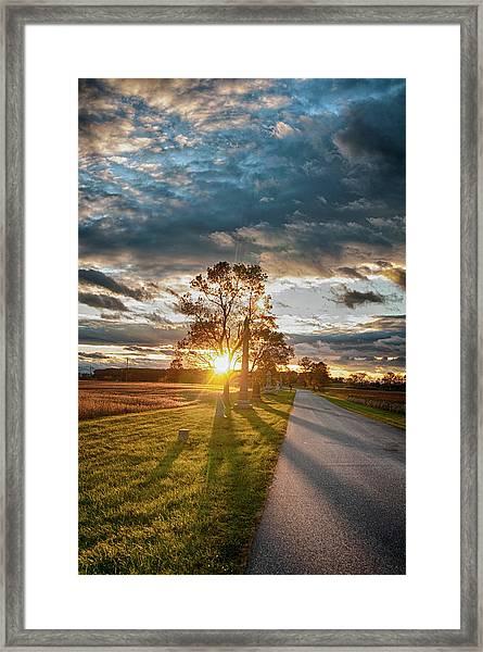 Sunset On The Field Framed Print