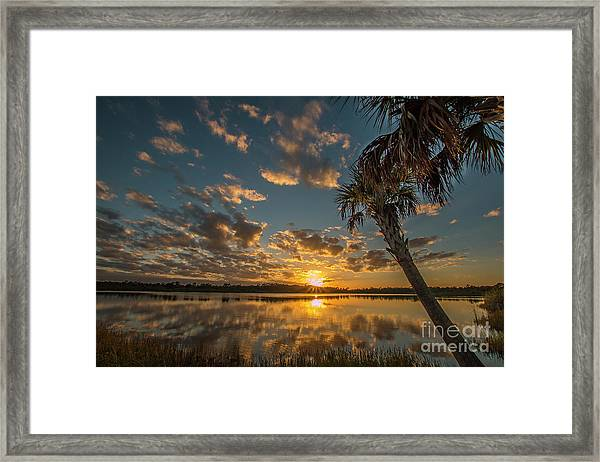Framed Print featuring the photograph Sunset On The Pond by Tom Claud
