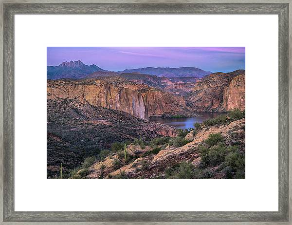 Sunset Over Canyon Lake And Four Peaks Framed Print