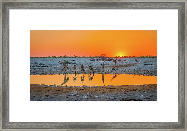 Sunset Over Okaukuejo Framed Print