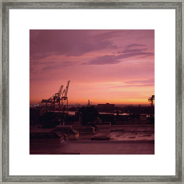 Sunset Over Red Hook Brooklyn And New Framed Print