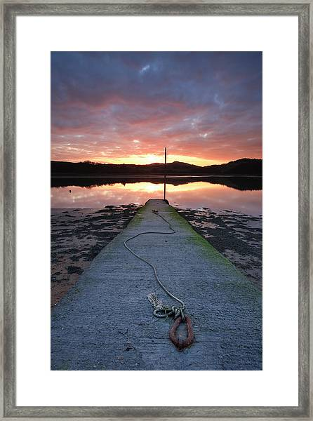 Sunset Over River Urr And An Old Jetty Framed Print
