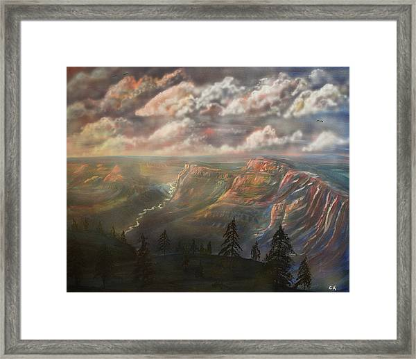 Sunset Over The Grand Canyon At Desert View Point Framed Print