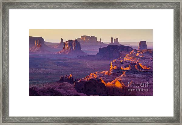 Sunset Over The Hunts Mesa Framed Print