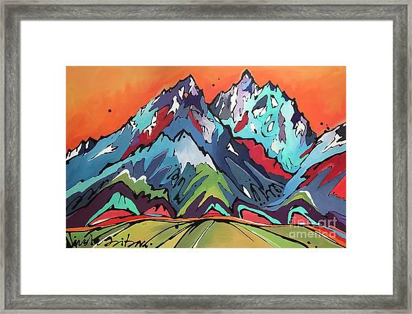 Sunset Over The Tetons Framed Print