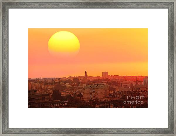 Sunset Over The Town.old City Of Tel Framed Print