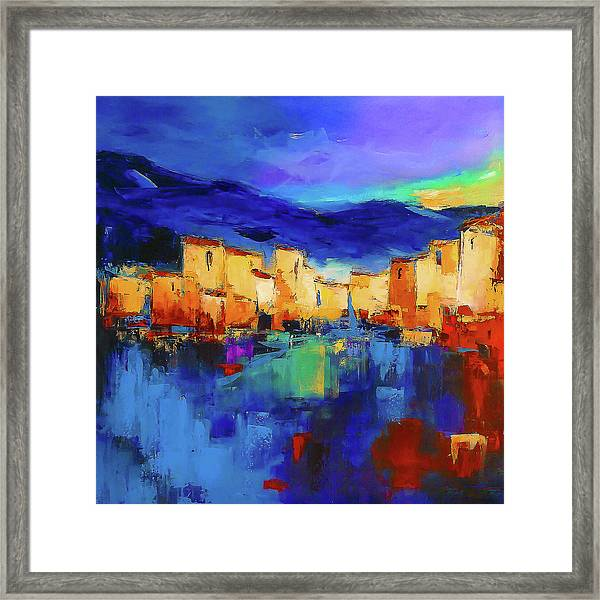 Sunset Over The Village Framed Print