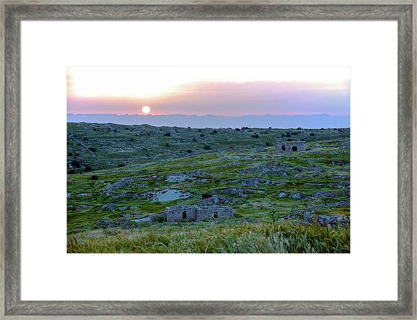 Sunset Over Um A-shekef, Israel Framed Print