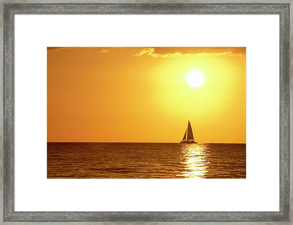 Sunset Sail Of The Gulf Framed Print